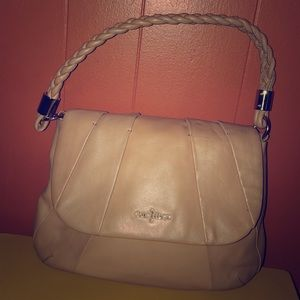 Cole Haan Tan Pleated Leather Flap Hobo Bag